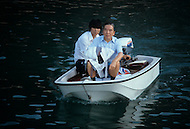 Hong Kong, China - September 25, 1981. Picture of Y.K. Pao taken leaving his home to board his yacht at 6am in the Deep Water Bay area. Y.K. Pao (November 10, 1918 - September 23, 1991) was founder of the World-Wide Shipping Group that by the mid 1970's had become the largest shipping company in the world.