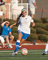 Boston Breakers defender Bianca D'Agostino (19) brings the ball forward. In a Women's Premier Soccer League Elite (WPSL) match, the Boston Breakers defeated Western New York Flash, 3-2, at Dilboy Stadium on May 26, 2012.