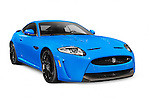 Blue 2013 Jaguar XKR-S luxury car isolated on white background with clipping path