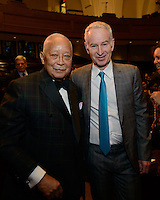 NEW YORK, NY - APRIL 3: Hon. David N. Dinkins, John McEnroe pictured as David N. Dinkins, 106th Mayor of the City of New York, receives the Dr. Phyllis Harrison-Ross Public Service Award for a lifetime of public service at the New York Society of Ethical Culture in New York City on April 3, 2014. Credit: Margot Jordan/MediaPunch