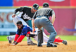 8 March 2010: Washington Nationals' outfielder Nyjer Morgan stretches a single into a double, sliding safely into second during a Spring Training game against the Florida Marlins at Space Coast Stadium in Viera, Florida. The Marlins defeated the Nationals 12-2 in Grapefruit League action. Mandatory Credit: Ed Wolfstein Photo