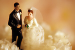 Inter-Racial marriage ceremony, caucasian woman and Black man (African American male) on wedding cake, sunset light, Marysville, Washington USA