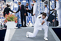 Naval Academy graduate Jason Aepli celebrates after receiving his diploma and shaking hand with US President Barack Obama (L) at Navy-Marine Corps Memorial Stadium in Annapolis Maryland in Washington, DC, USA on 22 May 2009.