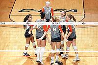 SAN ANTONIO, TX - NOVEMBER 6, 2015: The University of Texas at San Antonio Roadrunners sweep the Louisiana Tech University Lady Techsters 3-0 (25-16, 25-23, 25-18) at the UTSA Convocation Center. (Photo by Jeff Huehn)