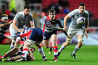 Rhodri Williams of Bristol Rugby passes the ball. European Rugby Challenge Cup match, between Bristol Rugby and Bath Rugby on January 13, 2017 at Ashton Gate Stadium in Bristol, England. Photo by: Patrick Khachfe / Onside Images