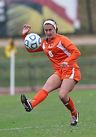 COLLEGE PARK, MD - OCTOBER 28, 2012:  Shannon McCarthy (8)  of Miami during an ACC  women's tournament 1st. round match against Maryland at Ludwig Field in College Park, MD. on October 28. Maryland won 2-1 on a golden goal in extra time.