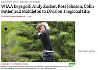 Middleton's Ross Johnson tees off on #9 during the boys high school golf tournament on Tuesday. Johnson goes on to place in a four-way tie for 2nd place | Wisconsin State Journal article in Sports 5/25/17 and on-line at http://host.madison.com/wsj/sports/high-school/golf/wiaa-boys-golf-andy-zucker-ross-johnson-colin-butler-lead/article_fc45583b-8623-56d3-b8bc-331d4e56bc94.html