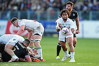 Taniela Moa of Pau passes the ball. European Rugby Challenge Cup match, between Bath Rugby and Pau (Section Paloise) on January 21, 2017 at the Recreation Ground in Bath, England. Photo by: Patrick Khachfe / Onside Images