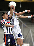 Mexico (26.02.2006) UNAM Pumas midfielder Marco Palacios (R) heads the ball against Monterrey Rayados midfielder Oribe Peralta during their soccer match at the Mexico City's University Stadium, February 26, 2006. UNAM tied 0-0 to Monterrey. © Photo by Javier Rodriguez