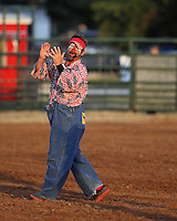 Rodeo clown in a festive mood at the Riata Roundup Rodeo.