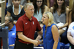 11 September 2015: Stanford head coach John Dunning (left) and Duke head coach Jolene Nagel (right) shake hands before the match. The Duke University Devils hosted the Stanford University Cardinal at Cameron Indoor Stadium in Durham, NC in a 2015 NCAA Division I Women's Volleyball contest. Stanford won the match 3-2 (17-25, 25-22, 17-25, 25-23, 10-15).