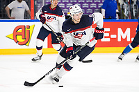 American Jacob Trouba in action with the puck during the Ice Hockey World Championship quarter-final match between the US and Finland in the Lanxess Arena in Cologne, Germany, 18 May 2017. Photo: Marius Becker/dpa /MediaPunch ***FOR USA ONLY***