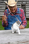 A farmer playing with a small kitten with a ribbon on a stick