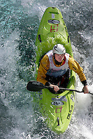 ØVREEIDE Eirik (Norway).Kayak downhill race in the Brandseth river. The Extremesport Week, Ekstremsportveko, is the worlds largest gathering of adrenalin junkies. In the small town of Voss enthusiasts in a varitety of extreme sports come togheter every summer to compete and play. Norway.  ©Fredrik Naumann/Felix Features.