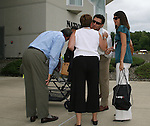 26 August 2007: 2007 Inductee Mia Hamm (r) and her husband, Nomar Garciaparra (2nd from rt) greet Tony DiCicco (l) and his wife Dianne. The National Soccer Hall of Fame Induction Ceremony was held at the National Soccer Hall of Fame in Oneonta, New York.