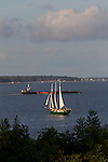 Ships and boats on the York River (part of the Chesapeake Bay Watershed) as seen from the Yorktown National Battlefield, part of the Chesapeake Bay Watershed. Yorktown, Virginia.