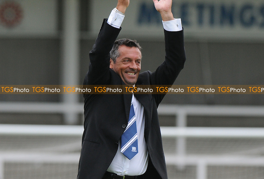 Southend United manager Phil Brown applauds travelling supporters at the final whistle - Hartlepool United vs Southend United - Sky Bet League Two Football at Victoria Park, Hartlepool, County Durham - 10/08/13 - MANDATORY CREDIT: Steven White/TGSPHOTO - Self billing applies where appropriate - 0845 094 6026 - contact@tgsphoto.co.uk - NO UNPAID USE