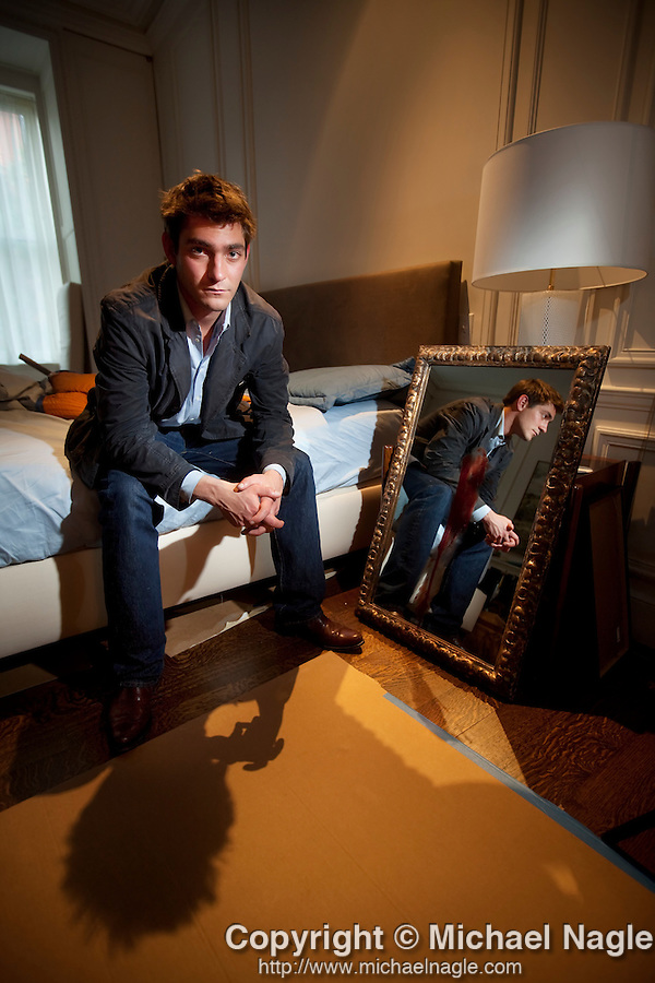 """NEW YORK - MAY 19, 2009:  Writer Nick McDonell poses for a portrait on the set of """"Twelve"""" on May 19, 2009 in New York City.  Twelve, written by McDonell when he was 17, is being made into a movie.  (PHOTOGRAPH BY MICHAEL NAGLE)"""