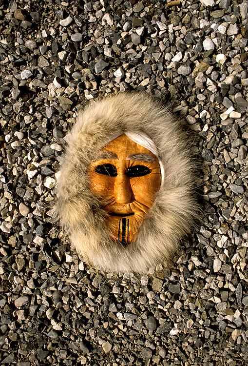 AK:  Alaska; Gates of the Arctic National Park, Anaktuvuk Pass, Eskimo village, caribou masks        .Photos by Lee Foster, lee@fostertravel.com, www.fostertravel.com, (510) 549-2202.Image: akgate404