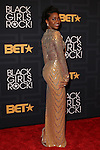 ACTRESS TEYONAH PARRIS WEARING A JANI KHOSLA DRESS, DRUKKER DESIGNS EARRINGS AND STUART WEITZMAN SHOES ATTEND THE  2016 BLACK GIRLS ROCK! Hosted by TRACEE ELLIS ROSS  Honors RIHANNA (ROCK STAR AWARD), SHONDA RHIMES (SHOT CALLER), GLADYS KNIGHT LIVING LEGEND AWARD), DANAI GURIRA (STAR POWER), AMANDLA STENBERG YOUNG, GIFTED & BLACK AWARD), AND BLACK LIVES MATTER FOUNDERS PATRISSE CULLORS, OPALL TOMETI AND ALICIA GARZA (CHANGE AGENT AWARD) HELD AT NJPAC