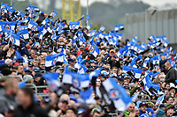 A general view of supporters in the crowd waving flags. Aviva Premiership match, between Bath Rugby and Gloucester Rugby on April 30, 2017 at the Recreation Ground in Bath, England. Photo by: Patrick Khachfe / Onside Images