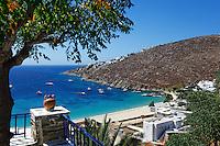 The famous Psarou beach in Mykonos, Greece