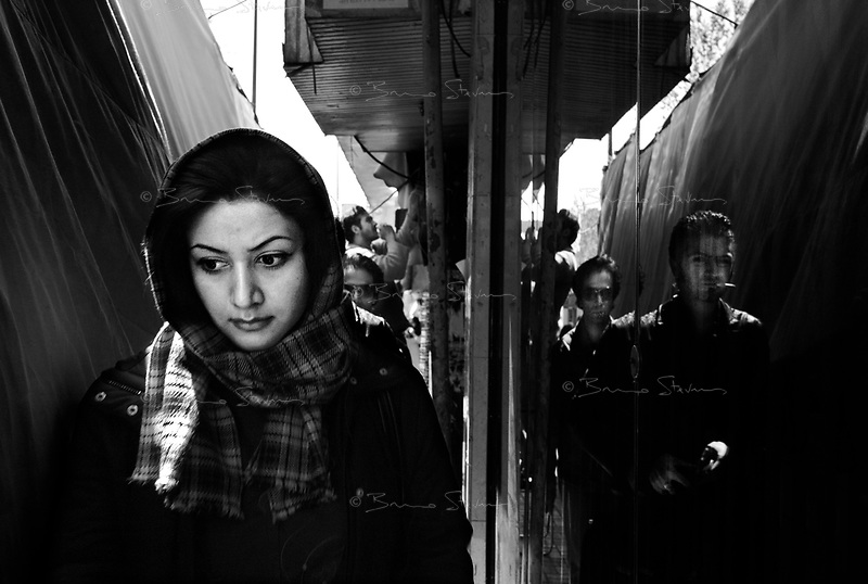 Teheran, Iran, March 31, 2007.Passers-by in Enqelab square..
