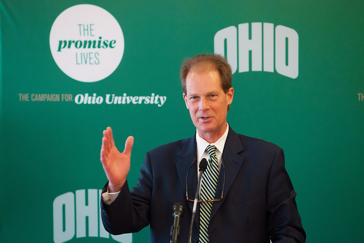 J. Bryan Benchoff, President and CEO of The Ohio University Foundation and Vice President of University Advancement, thanks the campaign steering committee that has lead the University to reaching it's goal of $450 million with 14 months remaining in the campaign. Photo by Ohio University / Jonathan Adams