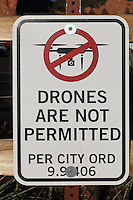 Drones Are Not Permitted sign at the Garden of the Gods Visitor and Nature Center, at the Garden of The Gods, an area of geological rock formations protected as a public park, near Colorado Springs, Colorado, USA. The use of drones or unmanned aircraft is banned in national, state, and city parks. The Garden of the Gods was listed as a National Natural Landmark in 1971. Picture by Manuel Cohen
