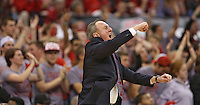 Ohio State head coach Thad Matta cheers on his team during a run in the second half of play at Value City Arena on January 13, 2012.  (Chris Russell/The Columbus Dispatch)