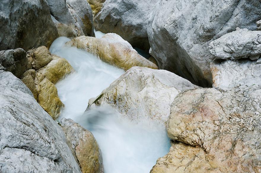 River Martuljek, cascades, rocks<br /> Triglav National Park, Slovenia<br /> July 2009