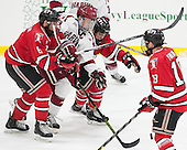 Phil Hampton (RPI - 6), Jimmy Vesey (Harvard - 19), Meirs Moore (RPI - 9) - The Harvard University Crimson defeated the visiting Rensselaer Polytechnic Institute Engineers 5-2 in game 1 of their ECAC quarterfinal series on Friday, March 11, 2016, at Bright-Landry Hockey Center in Boston, Massachusetts.