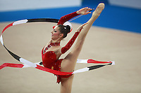 Byliana Prodanova of Bulgaria performs with ribbon at 2009 Pesaro World Cup on May 1, 2009 at Pesaro, Italy.  Photo by Tom Theobald.