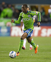 Seattle Sounders FC forward Steve Zakuani dribbles the ball during play against the L.A. Galaxy at Qwest Field in Seattle Tuesday March 15, 2011. The Galaxy won the game 1-0.