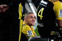 TJ Perenara watches the final minutes from the bench during the Super Rugby match between the Hurricanes and Stormers at Westpac Stadium in Wellington, New Zealand on Friday, 5 May 2017. Photo: Mike Moran / lintottphoto.co.nz