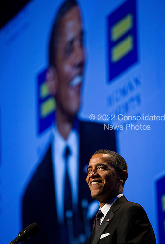 """United States President Barack Obama delivers remarks during the Human Rights Campaign's 15th Annual National Dinner in Washington, D.C. on Saturday, October 1, 2011. The President is speaking to one of the leading gay rights groups two weeks after the repeal of the military's """"Don't Ask, Don't Tell"""" policy. .Credit: Kristoffer Tripplaar  / Pool via CNP"""
