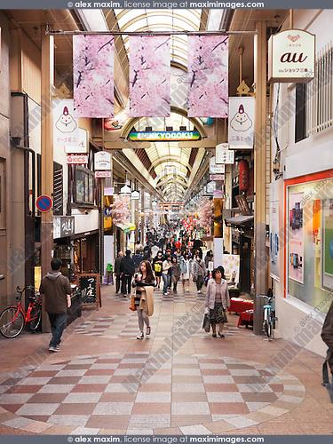Teramachi and Shinkyogoku shopping arcades, popular covered historical shopping street in downtown Kyoto, Japan. 2014