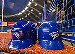 2 April 2016: A pair of Baseball Batting Helmets lie ready for play prior to an exhibition game between the Toronto Blue Jays and the Boston Red Sox at Olympic Stadium in Montreal, Quebec, Canada. The Red Sox defeated the Blue Jays 7-4 in the second of two MLB weekend games, which saw a two-game series attendance of 106,102 at the former home on the Montreal Expos. Mandatory Credit: Ed Wolfstein Photo *** RAW (NEF) Image File Available ***