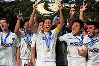 The Auckland City team celebrates victory after the Oceania Football Championship final (second leg) football match between Team Wellington and Auckland City FC at David Farrington Park in Wellington, New Zealand on Sunday, 7 May 2017. Photo: Dave Lintott / lintottphoto.co.nz