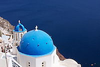 There are over 250 Churches on Santorini, and perhaps none more photographed then this one with it's quintessential vista towards the deep blue Aegean below.