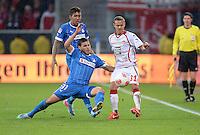 Fussball 1. Bundesliga 2012/2013: Relegation  Bundesliga / 2. Liga  TSG 1899 Hoffenheim  - 1. FC Kaiserslautern          23.05.2013 Roberto Firmino und Kevin Volland (v.l., beide TSG 1899 Hoffenheim) gegen Chris Loewe (re, Kaiserslautern)