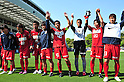 Kashima Antlers team group, APRIL 29, 2011 - Football: Kashima Antlers players acknowledge fans after the 2011 J.League Division 1 match between Avispa Fukuoka 1-2 Kashima Antlers at Level 5 Stadium in Fukuoka, Japan. (Photo by AFLO)