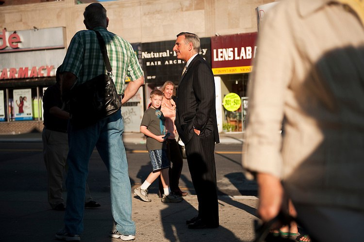 UNITED STATES - AUGUST 30:  David Weprin, democratic candidate for the seat of New York's 9th Congressional district, greets pedestrians at an intersection along Queens Blvd. in the Rego Park section of Queens.  A special election will be held on September 13, 2011, to fill the seat vacated by former congressman Anthony Weiner.  (Photo By Tom Williams/Roll Call)