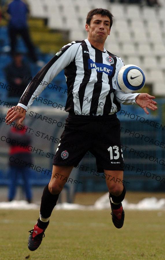 SPORT FUDBAL FOOTBALL SOCCER OFK BEOGRAD PARTIZAN BELGRADE SERBIA  Marko Lomic 25.2.2006. foto: Pedja Milosavljevic<br />