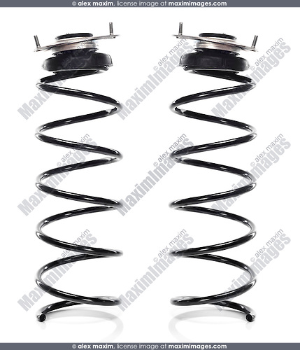 Volvo auto parts Front Suspension Coil Springs with Strut Mount and Spring Seat automotive part isolated on white background