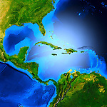 Detailed 3D render of the map of Central America showing the Caribbean sea, The Gulf of Mexico, Cuba, Haiti, Dominican Republic, Mexico, Jamaica, the Bahamas etc.