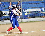 Burlington, CT- 17 April 2017-041717CM08-  Nonnewaug's Alannah Browne makes contact with the ball during their Berkshire League matchup against Lewis Mills in Burlington on Monday.  Nonnewaug would take home the win, 5-1.   Christopher Massa Republican-American