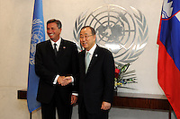 NEW YORK, USA - SEPT 23. U.N secretary-General Ban Ki Moon shake hands with Borut Phor president of Slovenia during a meeting celebrated as part of the 69th United Nations General Assembly on September 23.2014 photo by VIEWpress