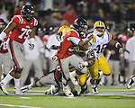 Ole Miss' Brandon Bolden (34) runs vs. LSU at Vaught-Hemingway Stadium in Oxford, Miss. on Saturday, November 19, 2011.