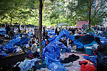 Tarps are used by Occupy Wall Street protesters to protect themselves from the weather while sleeping in New York's Zuccotti Park...Photo by Robert Caplin.
